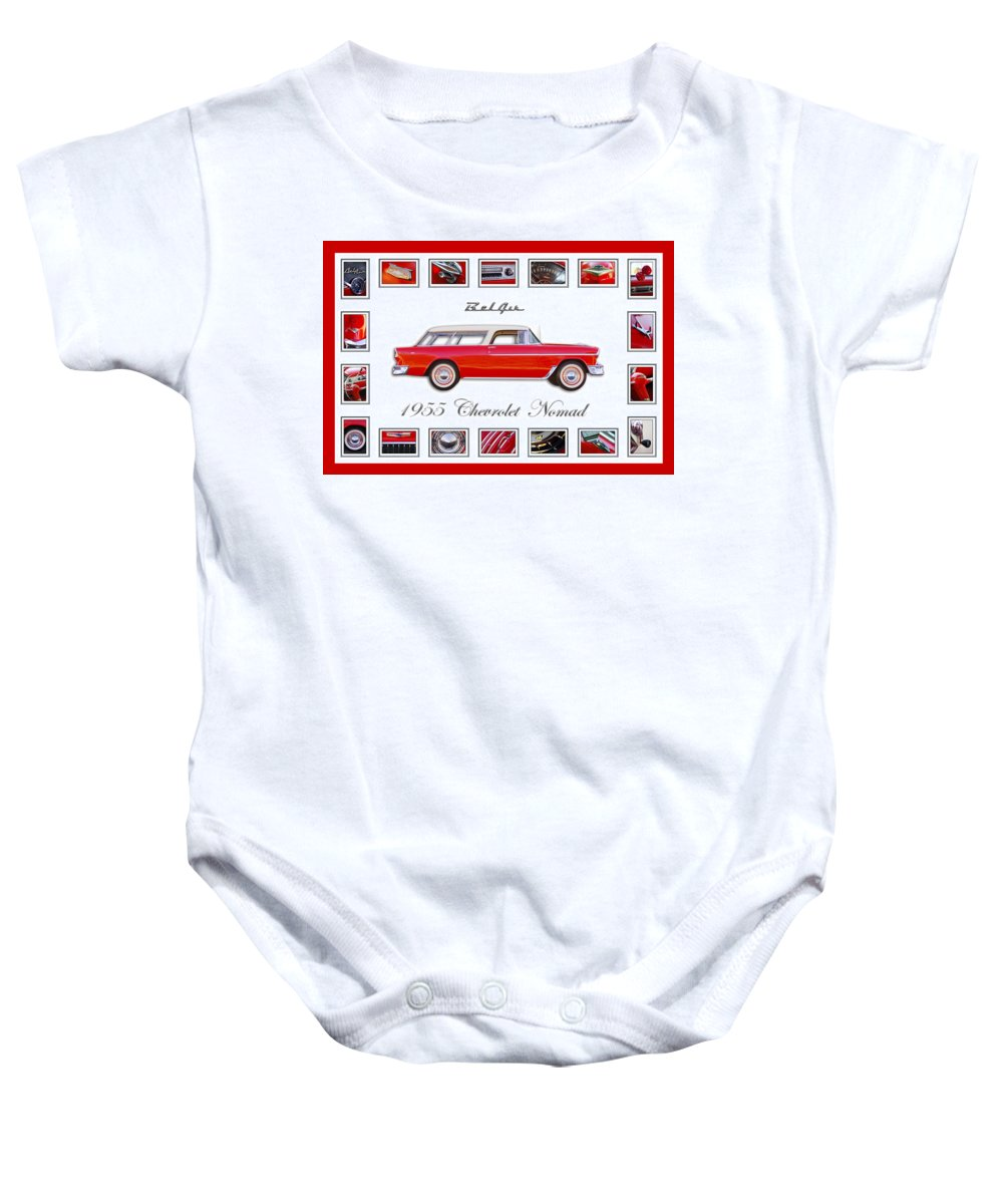 1955 Chevrolet Belair Nomad Art Baby Onesie featuring the photograph 1955 Chevrolet Belair Nomad Art by Jill Reger