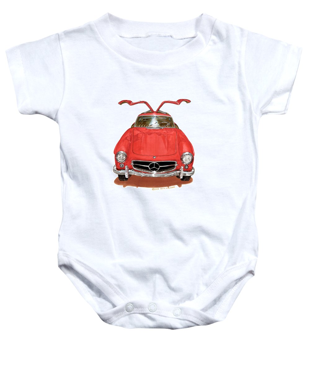 Mercedes Benz 300 S L Sports Coupe Baby Onesie featuring the painting 1955 Mercedes Benz 300 S L by Jack Pumphrey