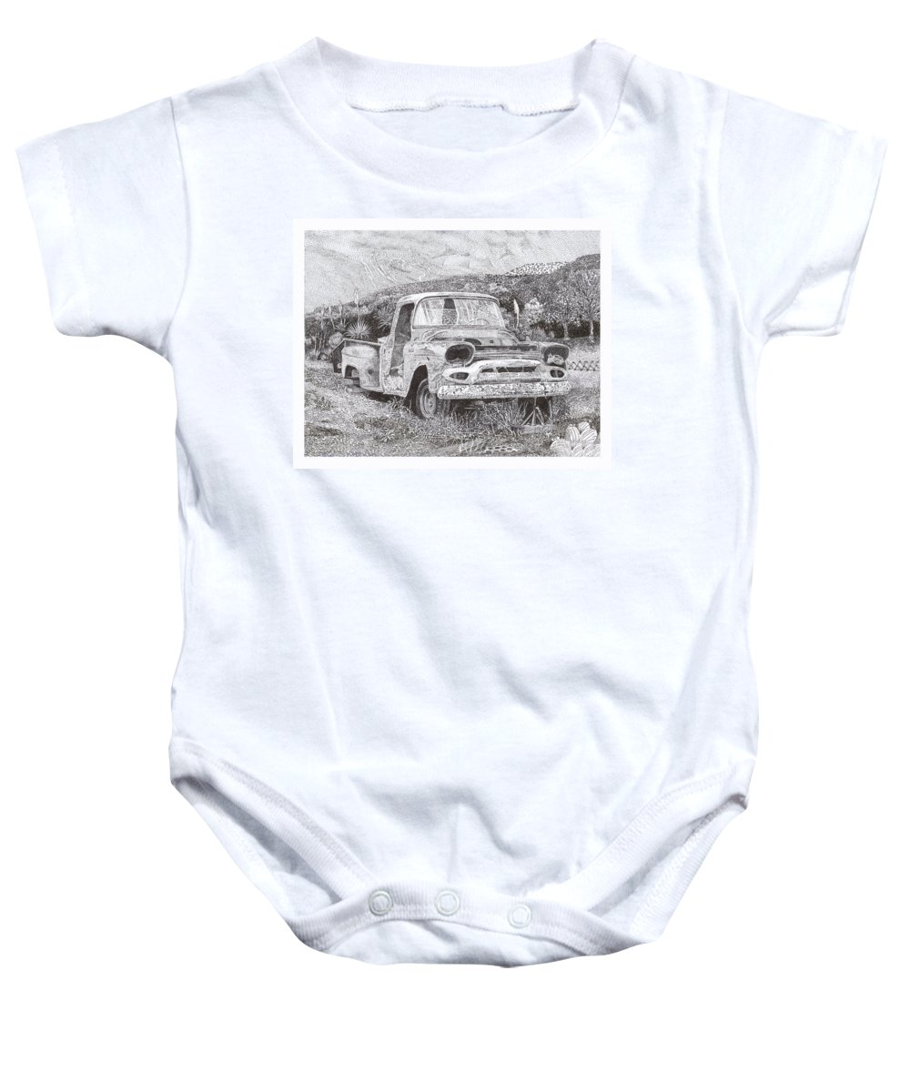 Classic 1957 Gmc Pick Up That's Seen Better Days Baby Onesie featuring the drawing Ran When Parked by Jack Pumphrey