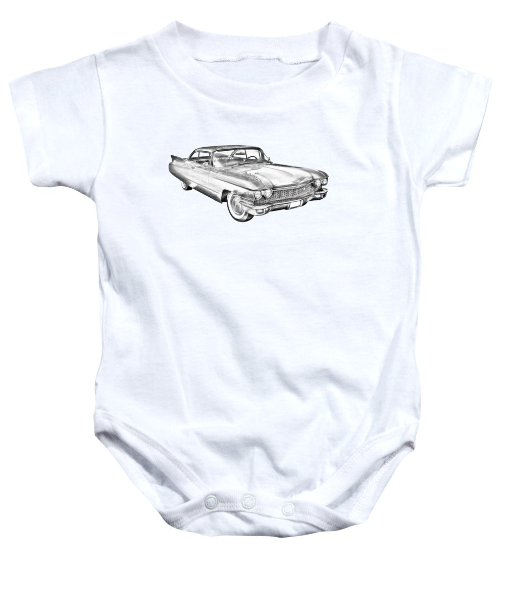 1960 Cadillac Baby Onesie featuring the photograph 1960 Cadillac Luxury Car Illustration by Keith Webber Jr