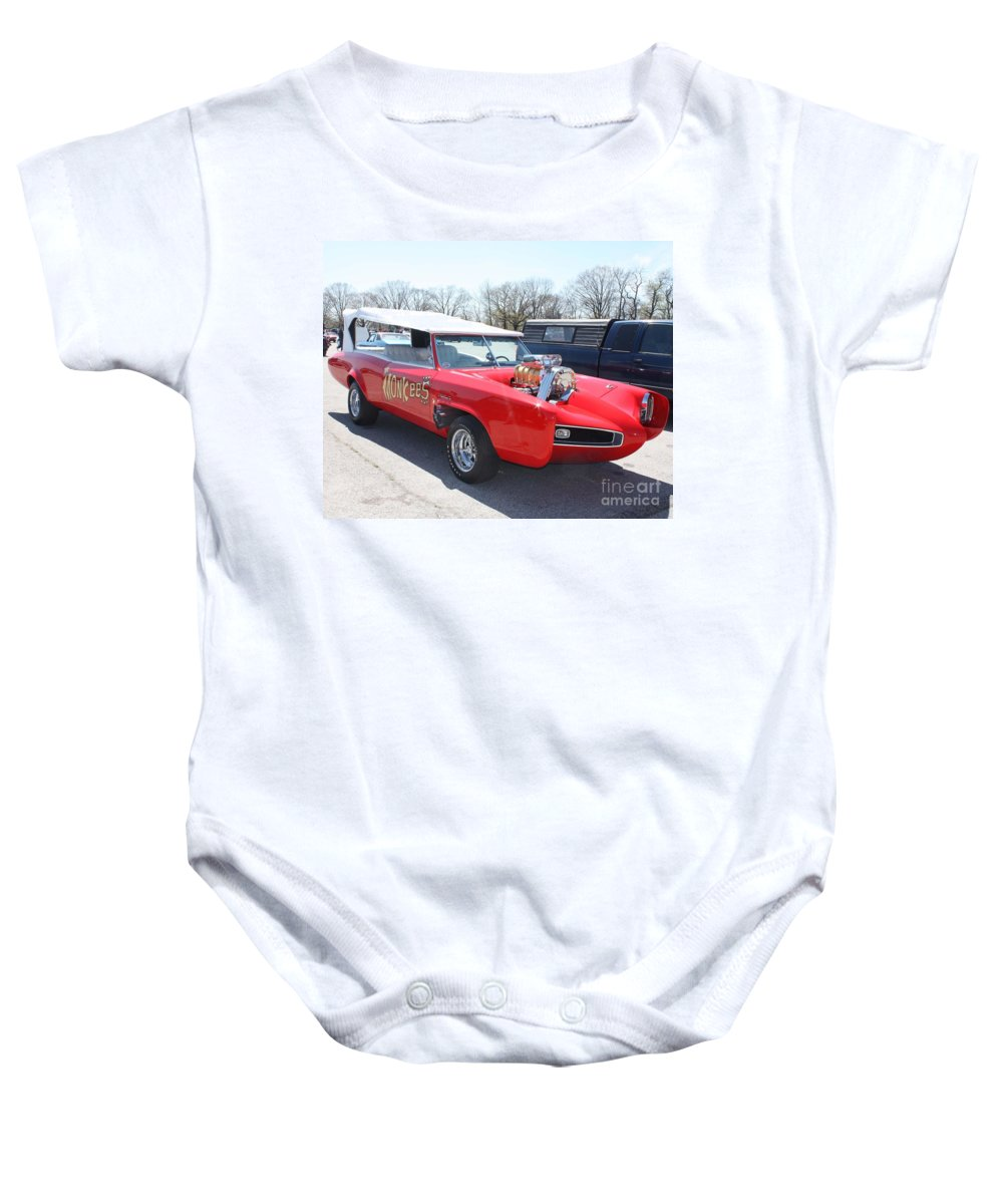 1966 Gto Monkeemobile Baby Onesie featuring the photograph 1966 Gto Monkeemobile by John Telfer