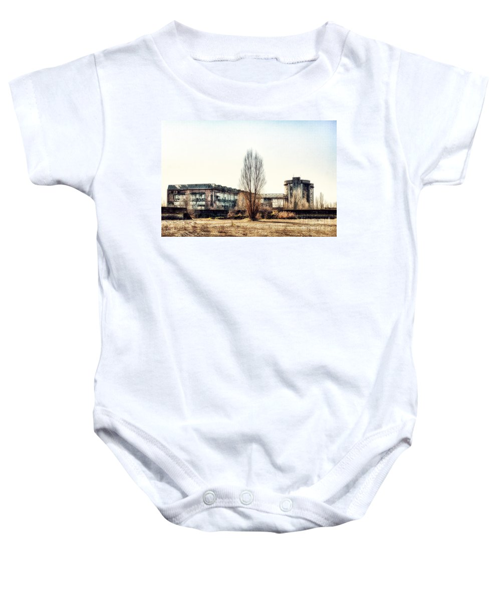 Abandoned Baby Onesie featuring the photograph Abandoned Sugarmill by Traven Milovich