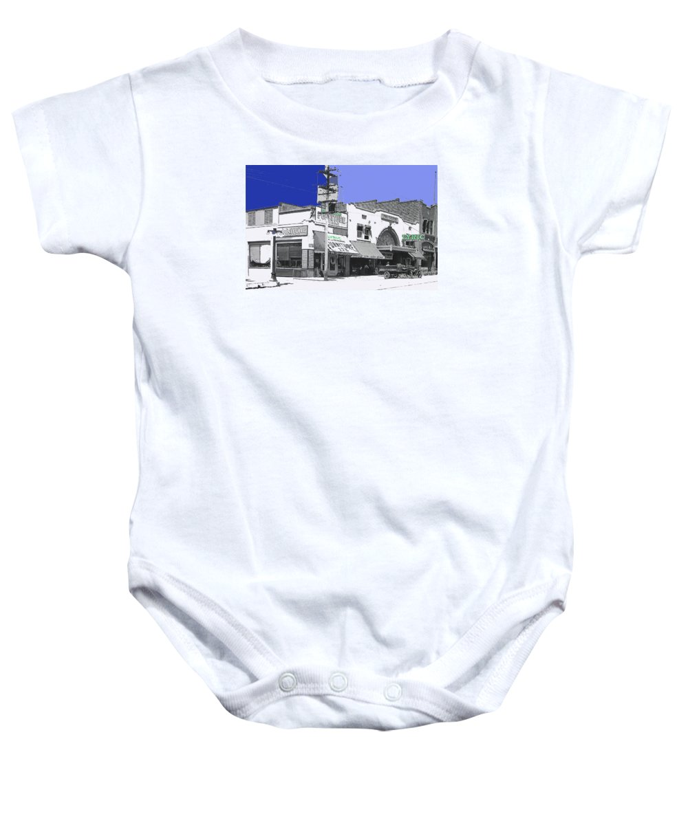 Allan Dwan Soldiers Of Fortune 1919 Lyric Theater Tucson Arizona Wallace Beery Mgm Essanay Fox Tucson Theater Color Added Baby Onesie featuring the photograph Allan Dwan Soldiers Of Fortune 1919 Lyric Theater Tucson Arizona 1919-2008 by David Lee Guss