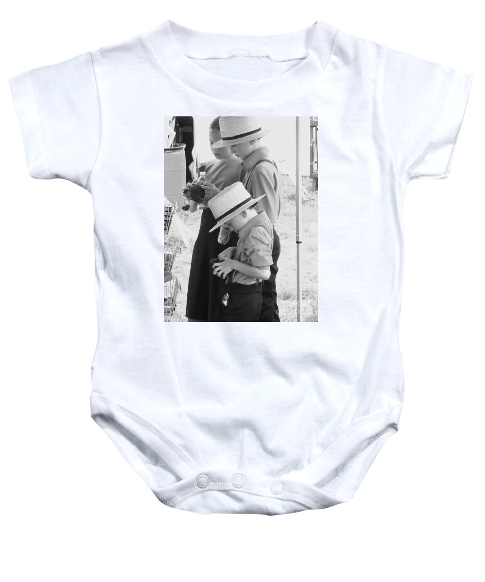 Amish Baby Onesie featuring the painting Amish Auction Day by Eric Schiabor