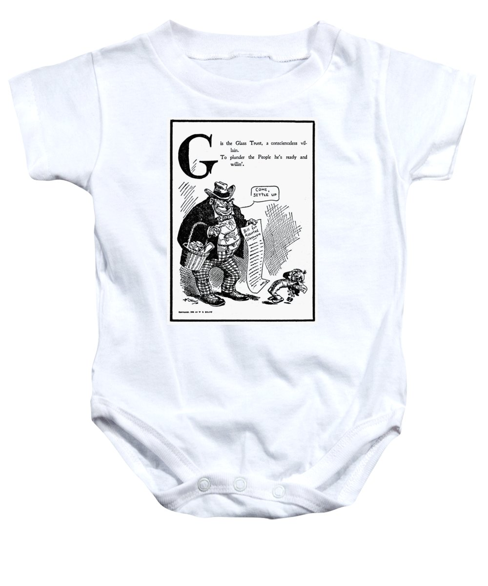 1902 Baby Onesie featuring the painting Anti-trust Cartoon, 1902 by Granger