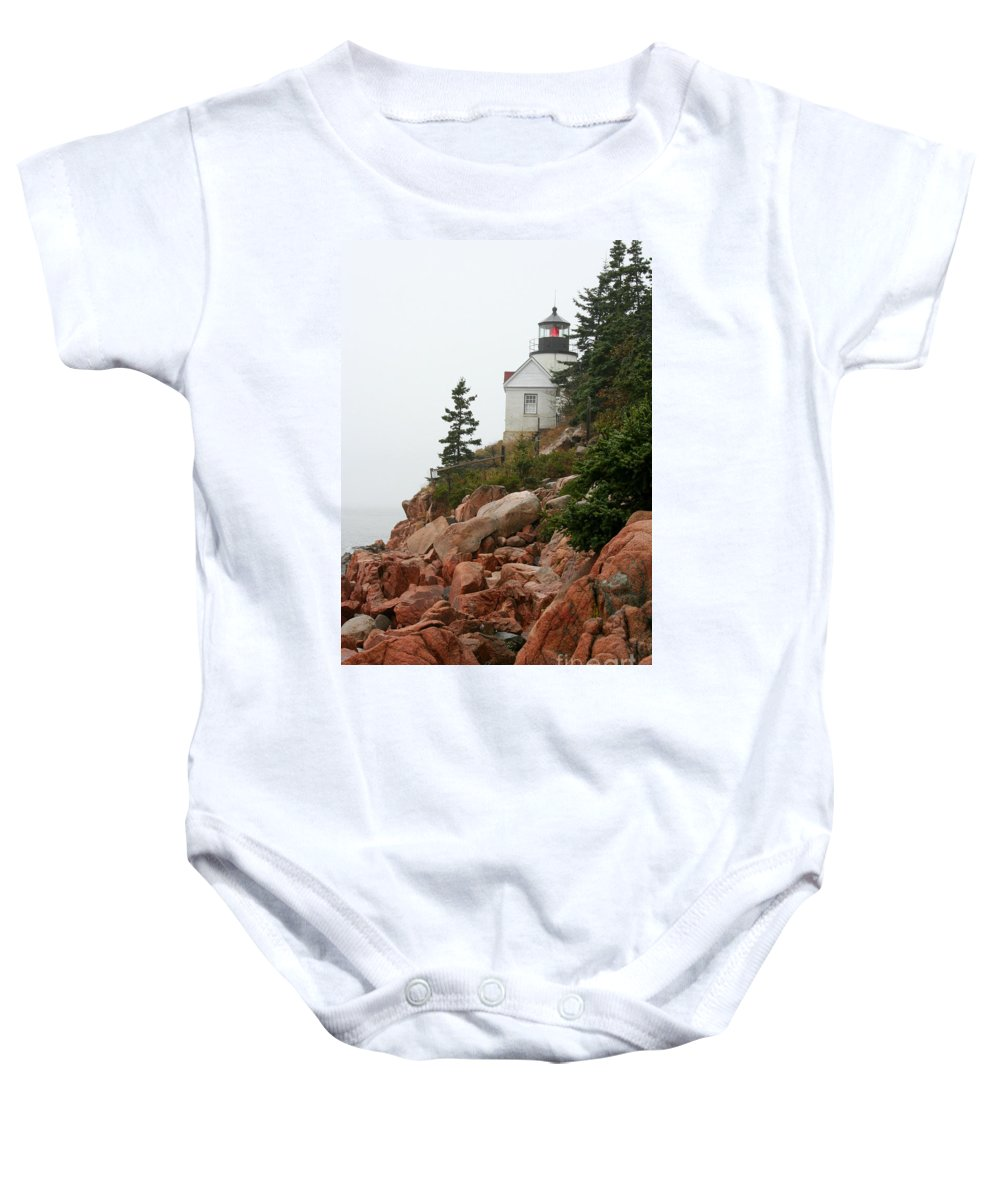 Bass Harbor Head Light Baby Onesie featuring the photograph Bass Harbor Head Light by Christiane Schulze Art And Photography