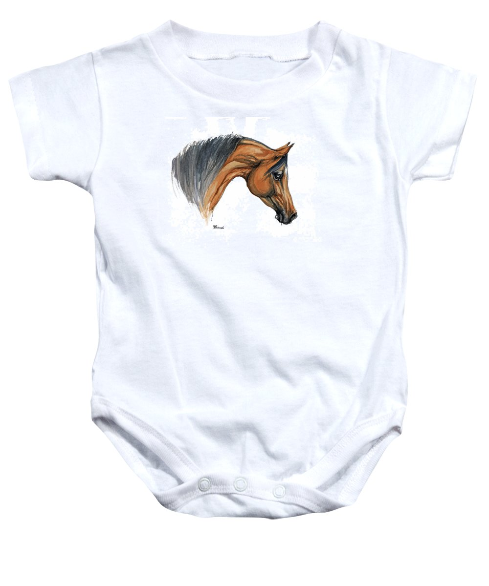 Horse Baby Onesie featuring the painting Bay Arabian Horse Watercolor Painting by Angel Tarantella