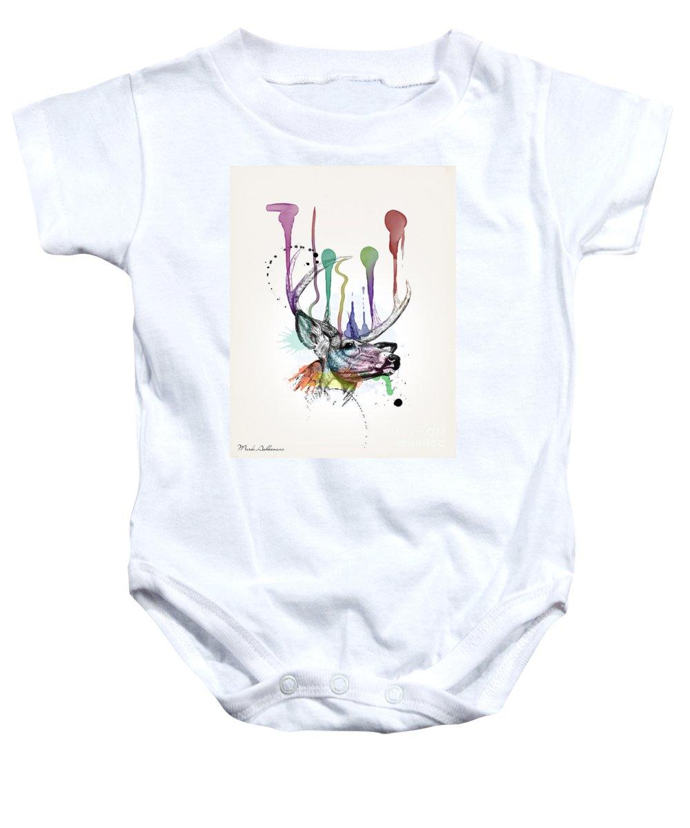 Deer Baby Onesie featuring the painting Deer by Mark Ashkenazi
