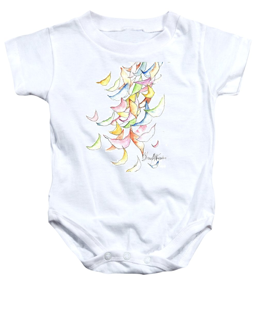 Orchards Baby Onesie featuring the painting Falling Into Place by Sherry Harradence