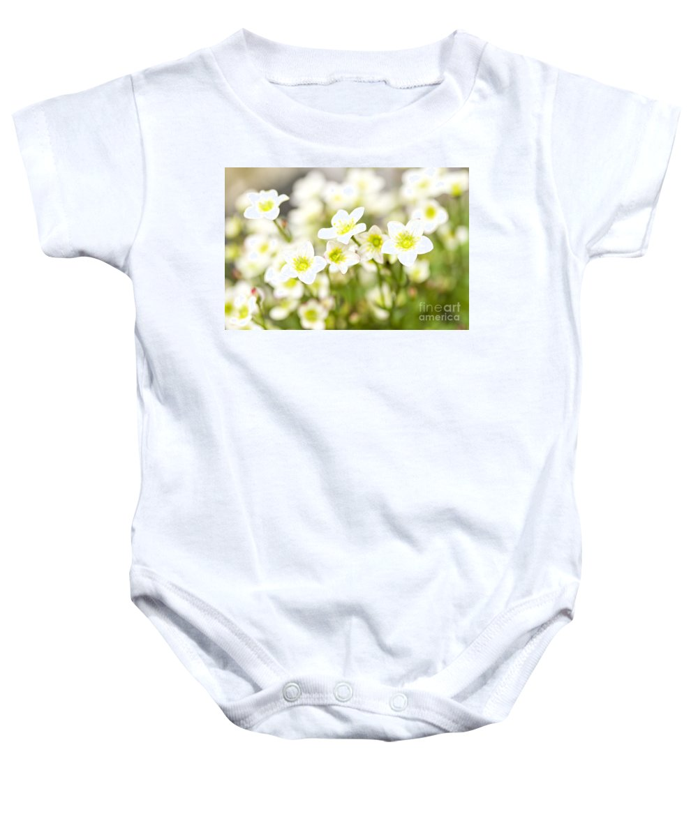 Flower Baby Onesie featuring the photograph Field Of White Blossoms by Sophie McAulay