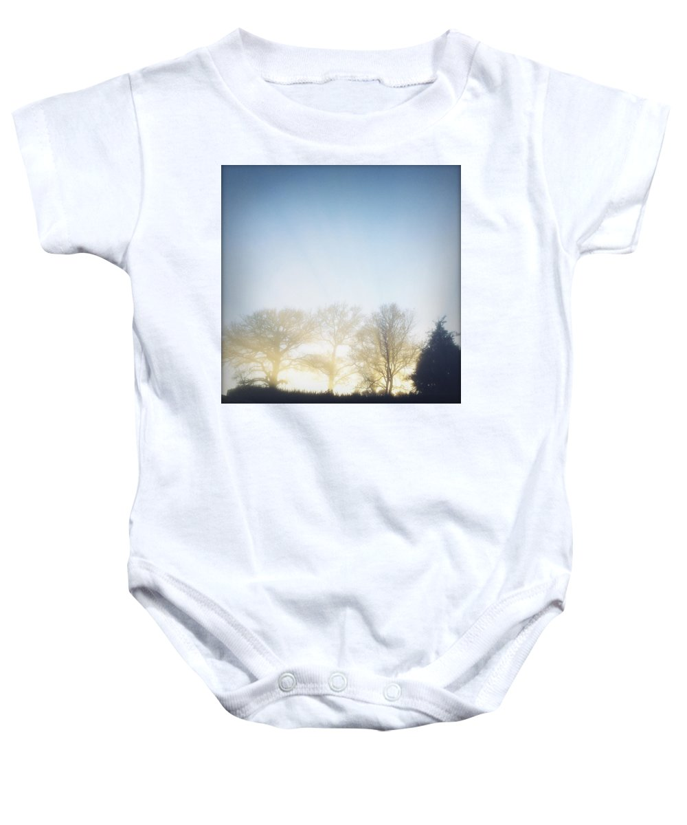 Autumn Baby Onesie featuring the photograph Foggy Morning by Les Cunliffe