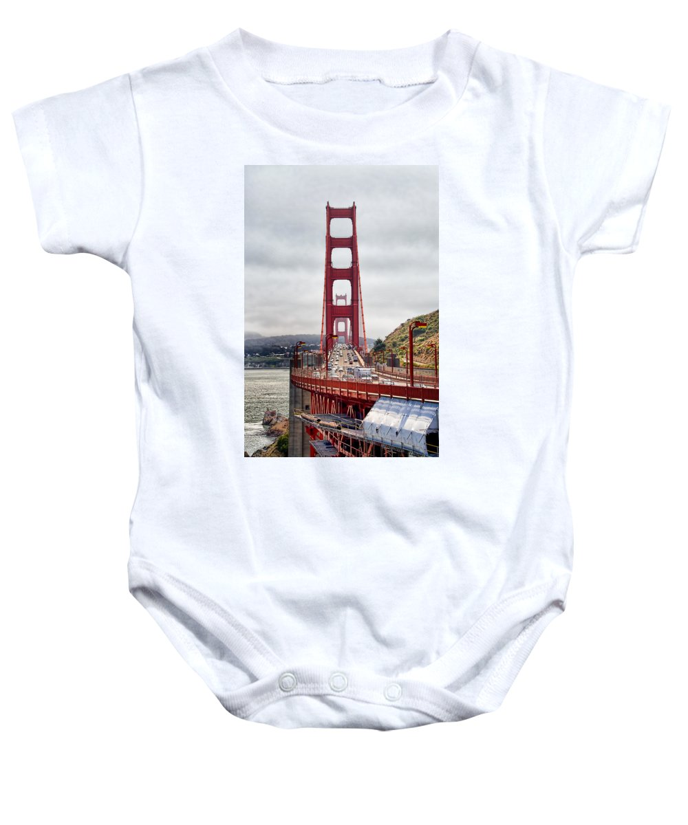 Golden Gate Bridge Baby Onesie featuring the photograph Golden Gate Bridge - San Francisco California by Jon Berghoff
