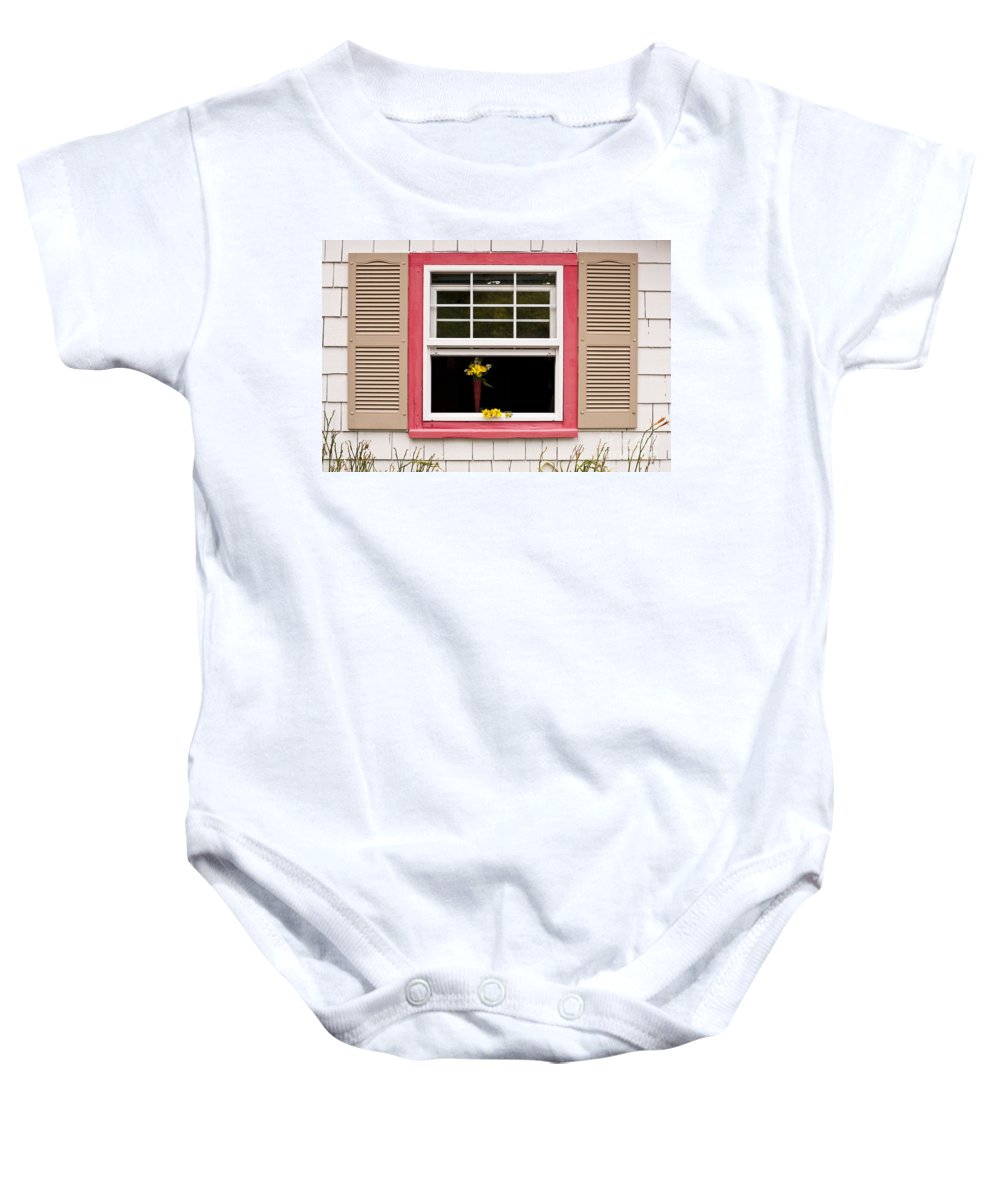 Architecture Baby Onesie featuring the photograph Open Window With Yellow Flower In Vase by Jim Corwin