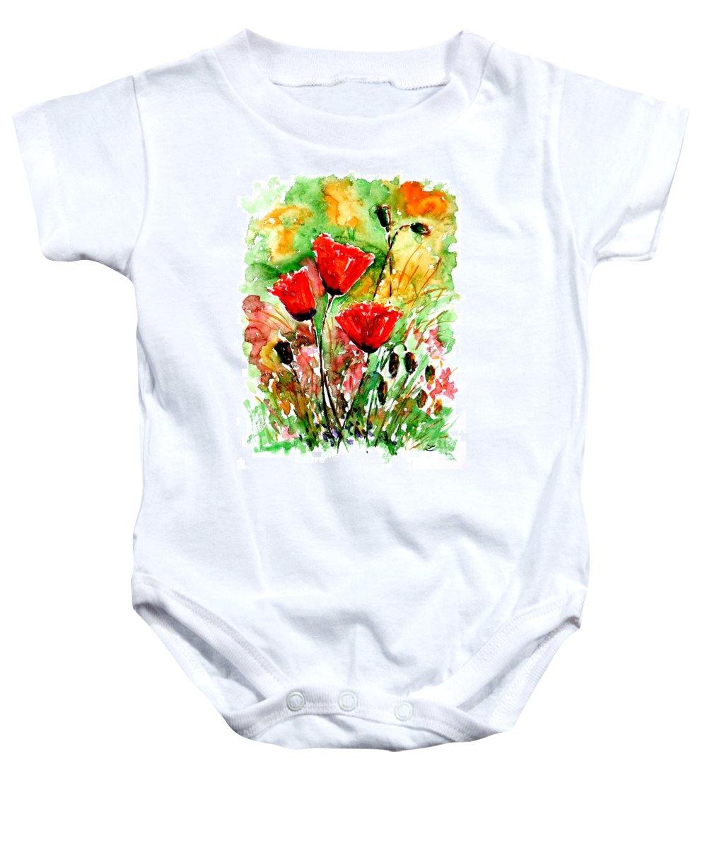 Poppy Lawn Baby Onesie featuring the painting Poppy Lawn by Zaira Dzhaubaeva