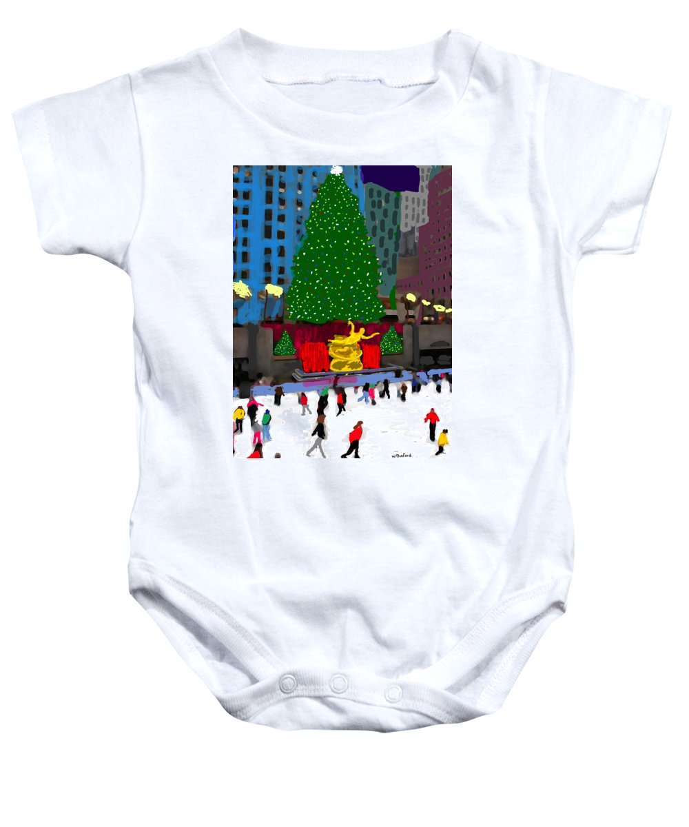 Baby Onesie featuring the painting Rockefeller Center by Wade Binford