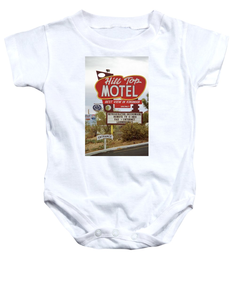 66 Baby Onesie featuring the photograph Route 66 - Hill Top Motel by Frank Romeo
