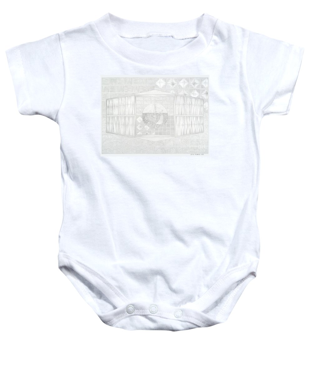 Ship Baby Onesie featuring the mixed media Ship In The Ring by Robert Robbins