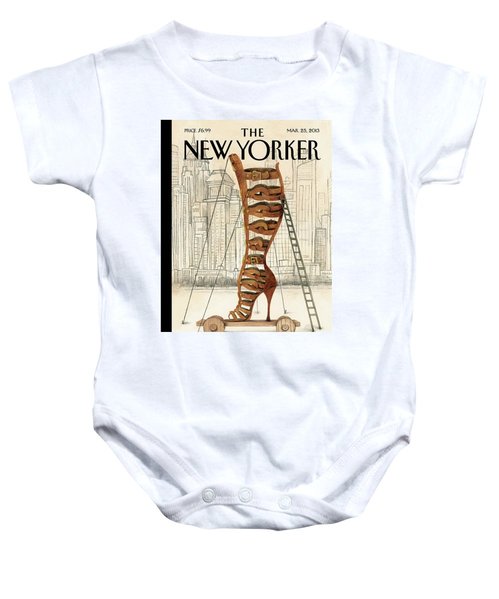 Fashion Baby Onesie featuring the painting Art and Architecture by Ana Juan