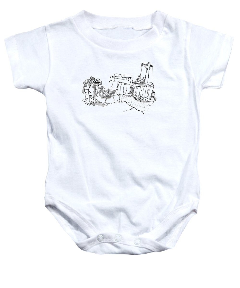 Stonehenge Baby Onesie featuring the drawing New Yorker February 23rd, 2009 by Sidney Harris