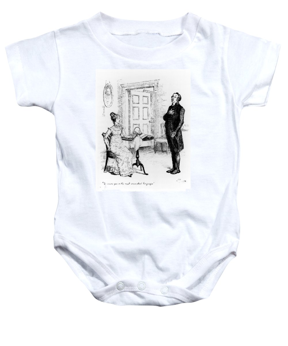 Illustration; Cousin; Bennett; Sitting; Seated; Hankerchief; Pompous; Wooing; Proposal Of Marriage; Vicar; Jane Baby Onesie featuring the drawing Scene From Pride And Prejudice By Jane Austen by Hugh Thomson