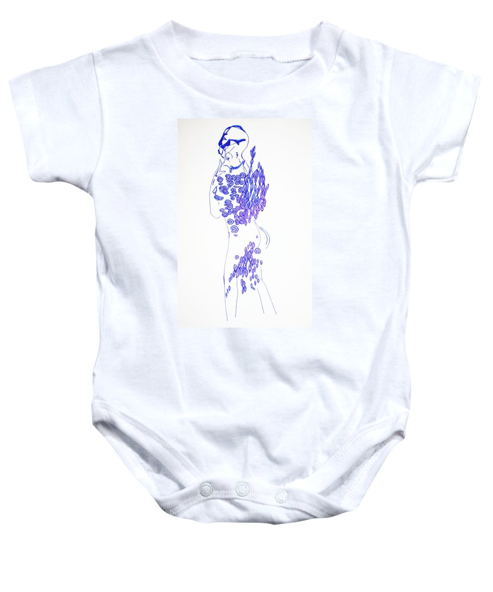 Jesus Baby Onesie featuring the drawing Dinka Lady - South Sudan by Gloria Ssali