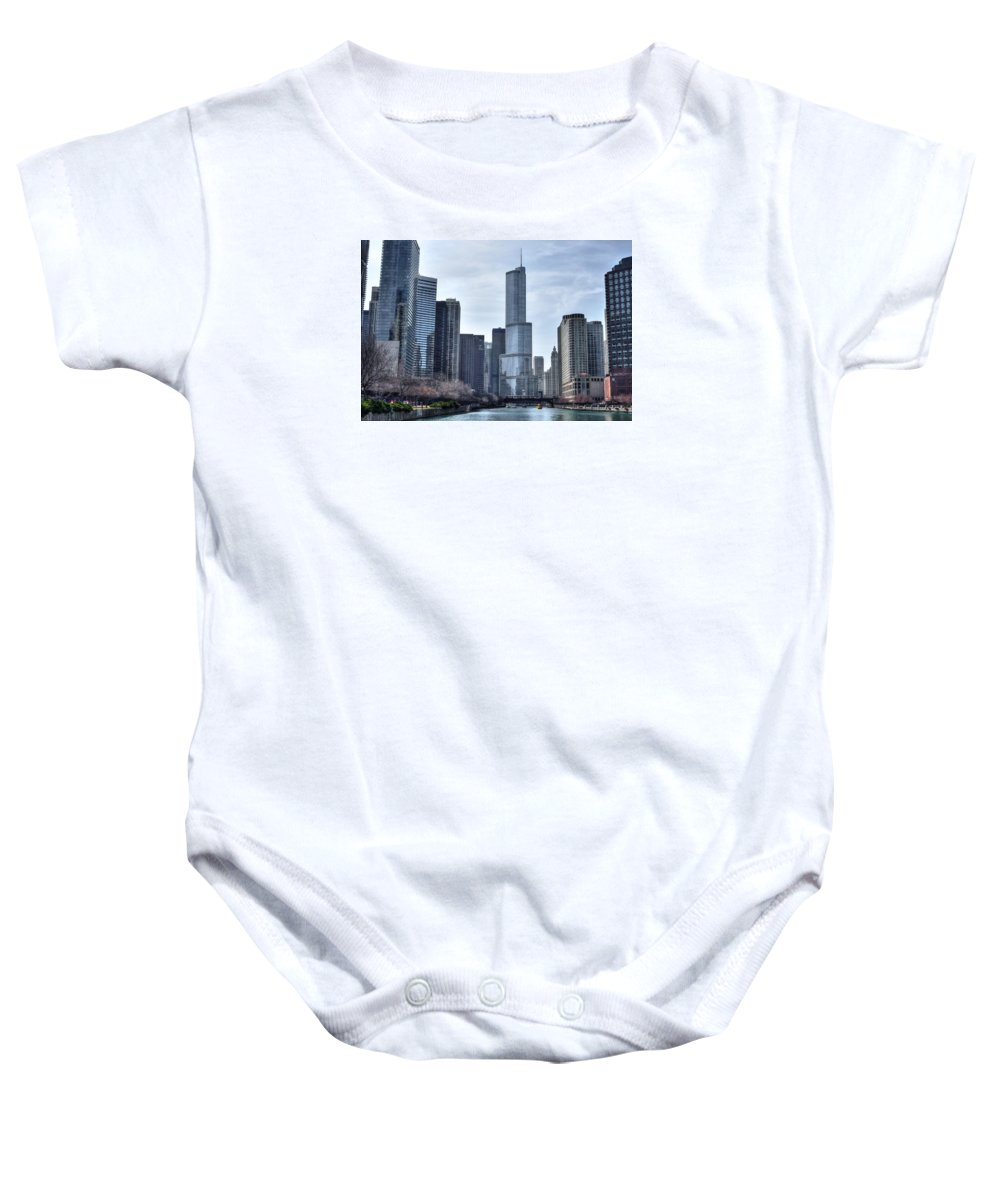 Chicago Baby Onesie featuring the photograph Chicago River by Patrick Warneka