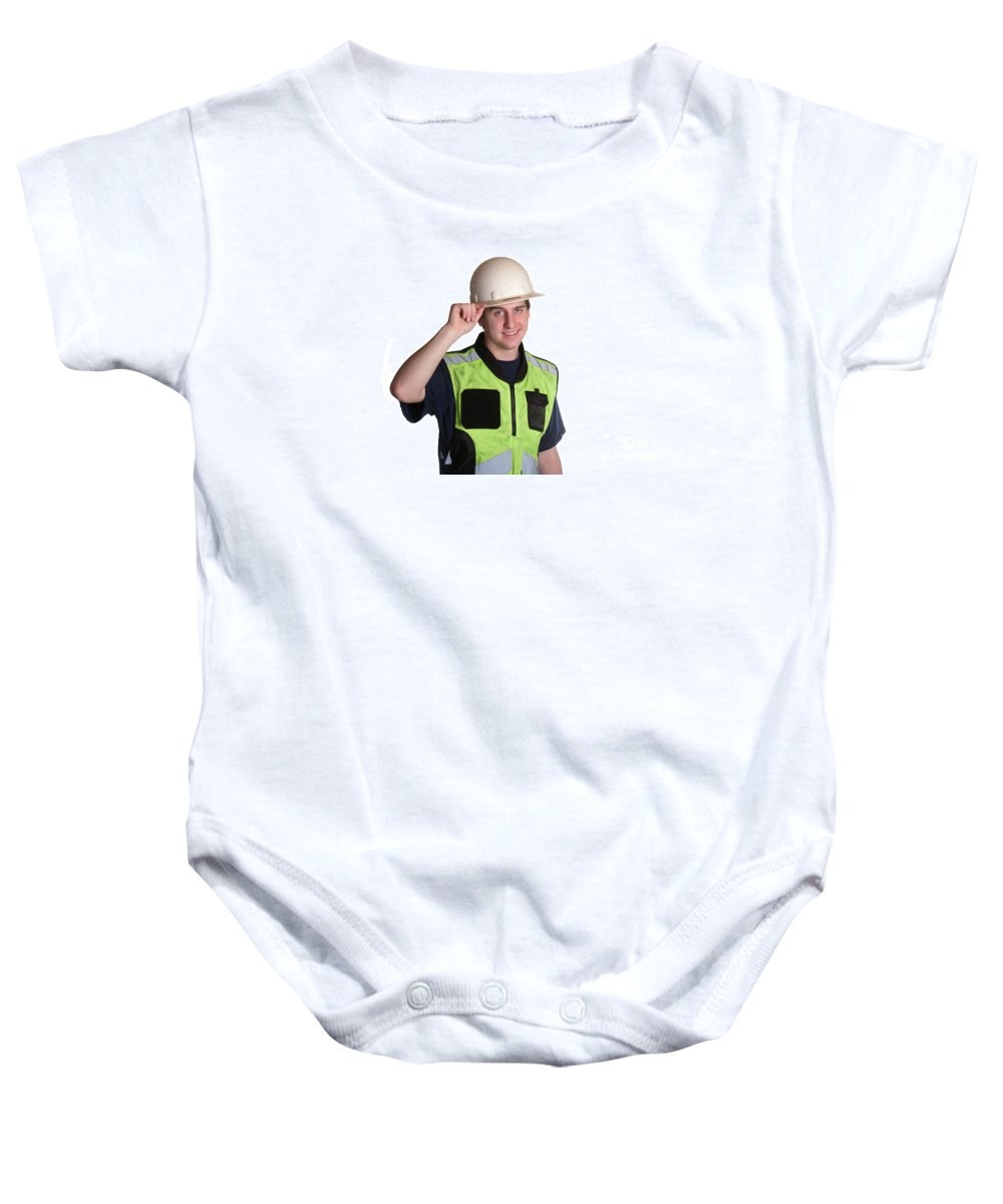 Adult Baby Onesie featuring the photograph Construction Worker In Safety Jacket by Gunter Nezhoda