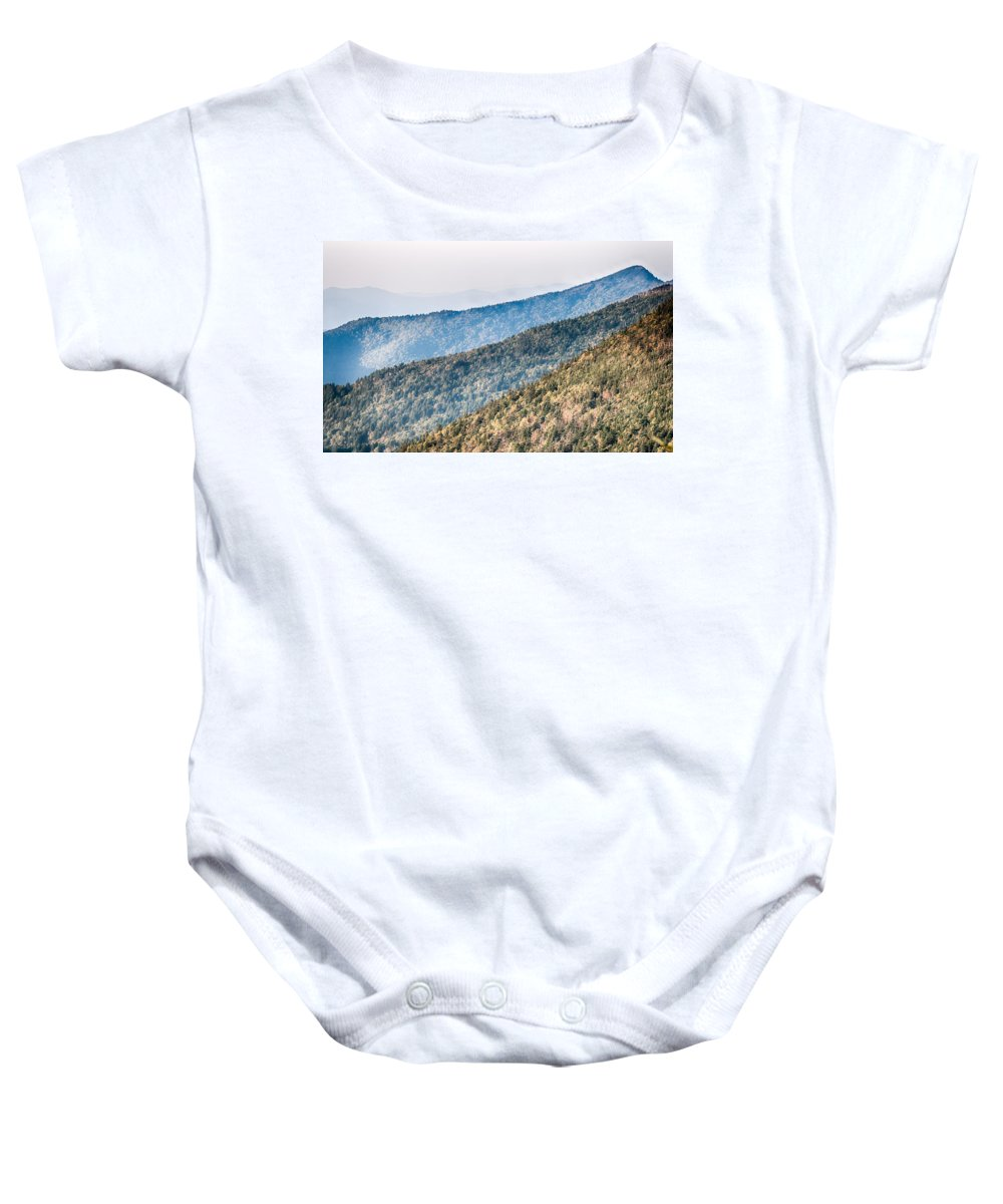 Sunset Baby Onesie featuring the photograph The Simple Layers Of The Smokies At Sunset - Smoky Mountain Nat. by Alex Grichenko