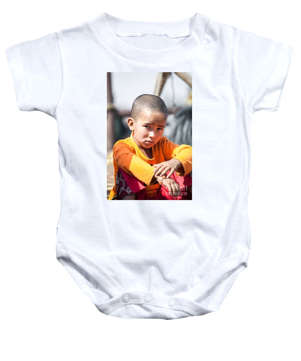 China Baby Onesie featuring the photograph Uighur Child At Kashgar Market Xinjiang China by Matteo Colombo