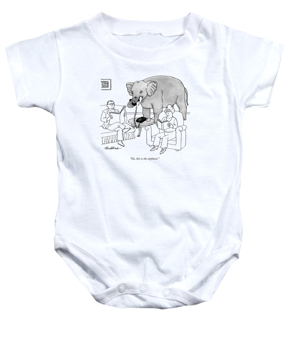 Elephants Talking Pets   (elephant Answering A Phone In A Living Room.) 121678 Jha J.b. Handelsman Baby Onesie featuring the drawing No, This Is The Elephant by J.B. Handelsman