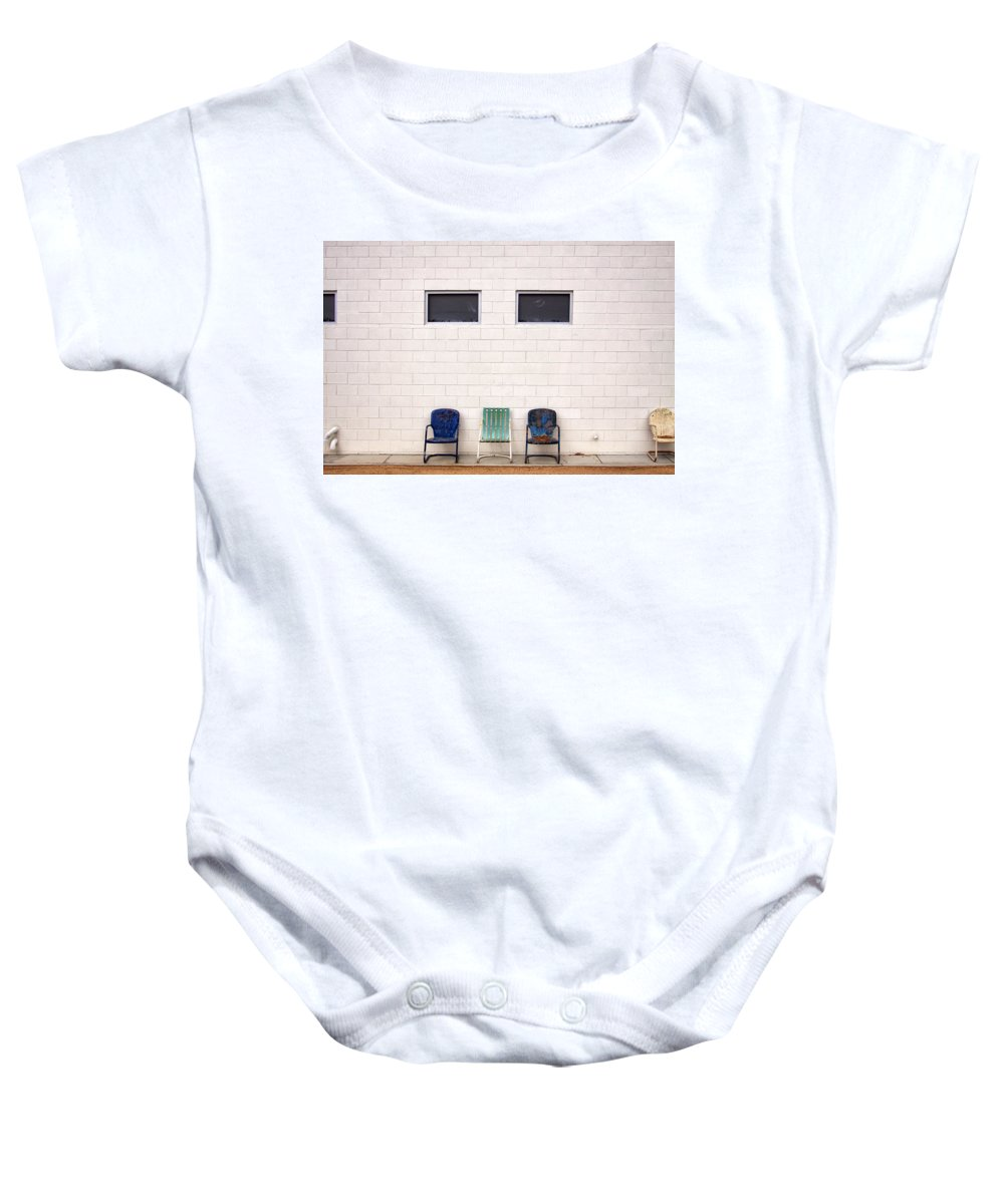 Chairs Baby Onesie featuring the photograph Ace Chairs Palm Springs by William Dey