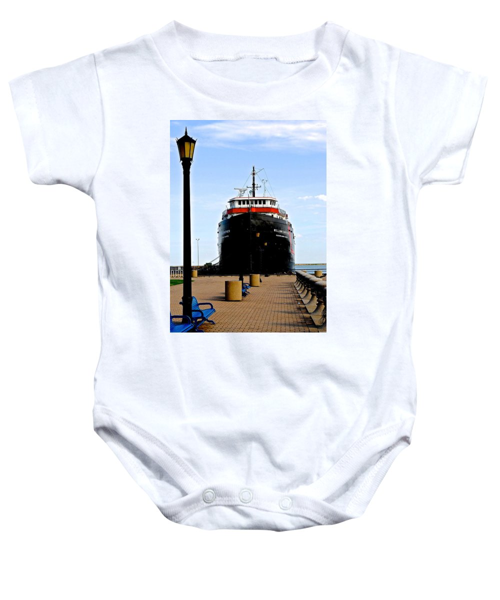 Ship Baby Onesie featuring the photograph Cleveland Skyline by Frozen in Time Fine Art Photography