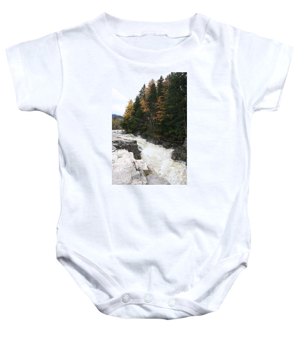 Franconia Notch Baby Onesie featuring the photograph Franconia Notch White Mountians by Christiane Schulze Art And Photography
