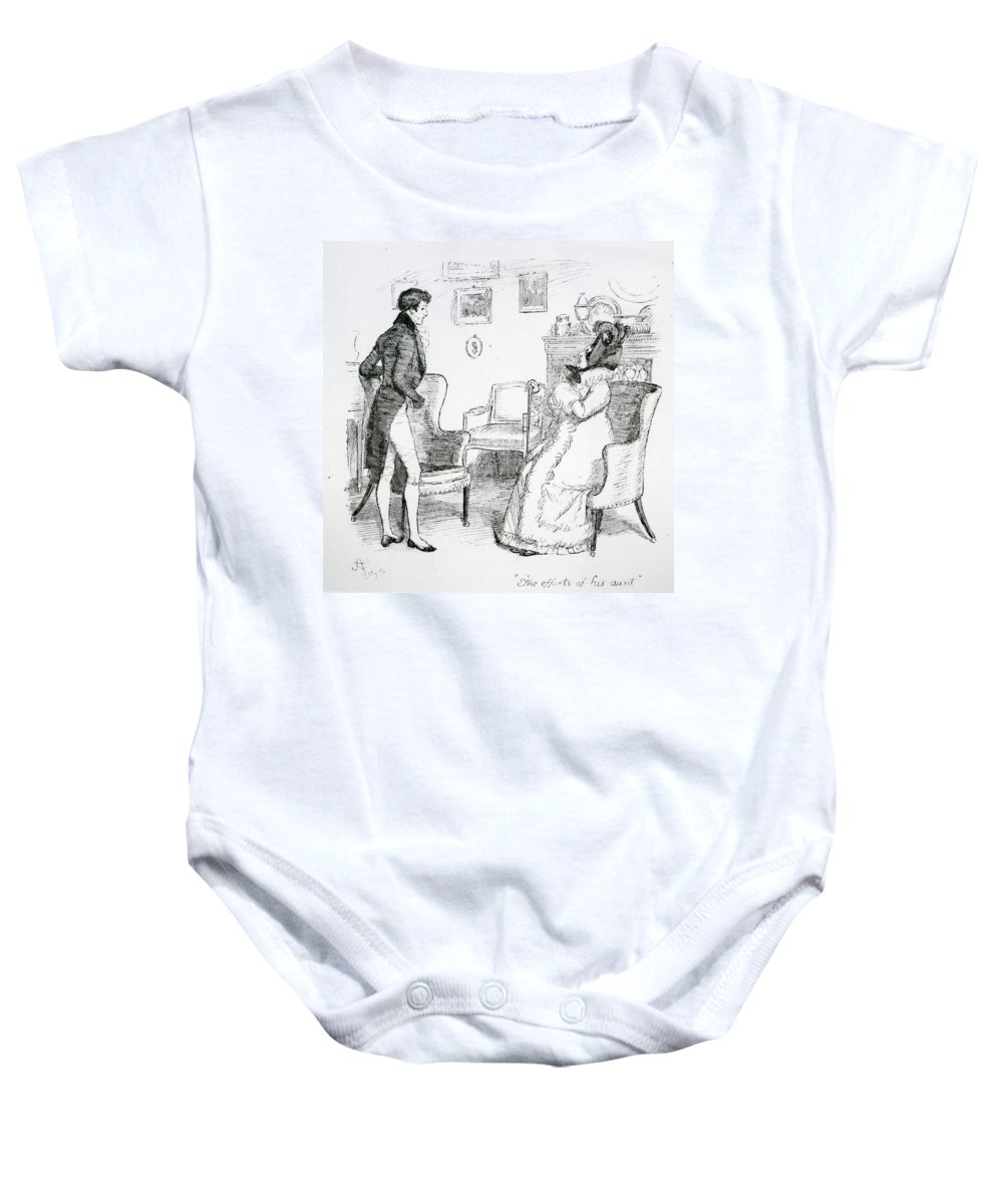 Efforts Of His Aunt; Illustration; Pride; Prejudice; Jane Austen; Edition; Illustrated; Lady Catherine De Bourgh; Telling; Mr; Darcy; Conversation; Nephew; Regency; Georgian; Interior; Costume; Character Baby Onesie featuring the drawing Scene From Pride And Prejudice By Jane Austen by Hugh Thomson