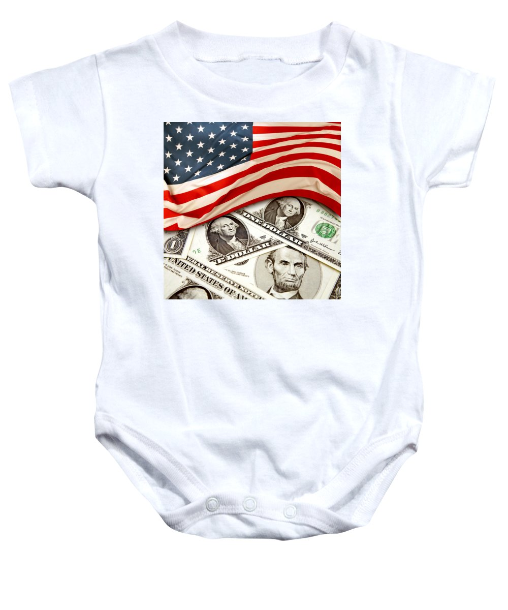 Flag Baby Onesie featuring the photograph Usa Finance by Les Cunliffe