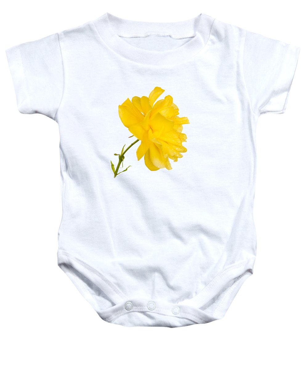 Brown Baby Onesie featuring the photograph Yellow Rose by Mark Llewellyn