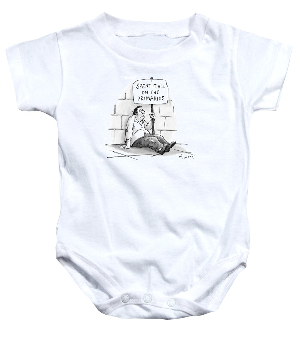 Beggars Baby Onesie featuring the drawing New Yorker February 21st, 2000 by Mike Twohy