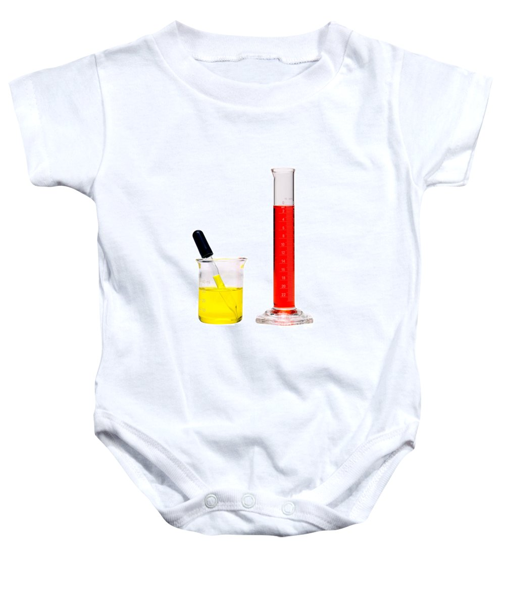 Analysis Baby Onesie featuring the photograph Laboratory Equipment In Science Research Lab by Science Research Lab By Olivier Le Queinec