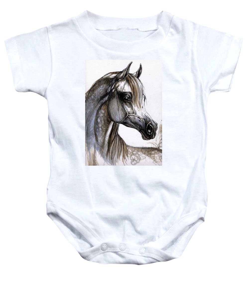 Horse Baby Onesie featuring the painting Arabian Horse by Angel Tarantella