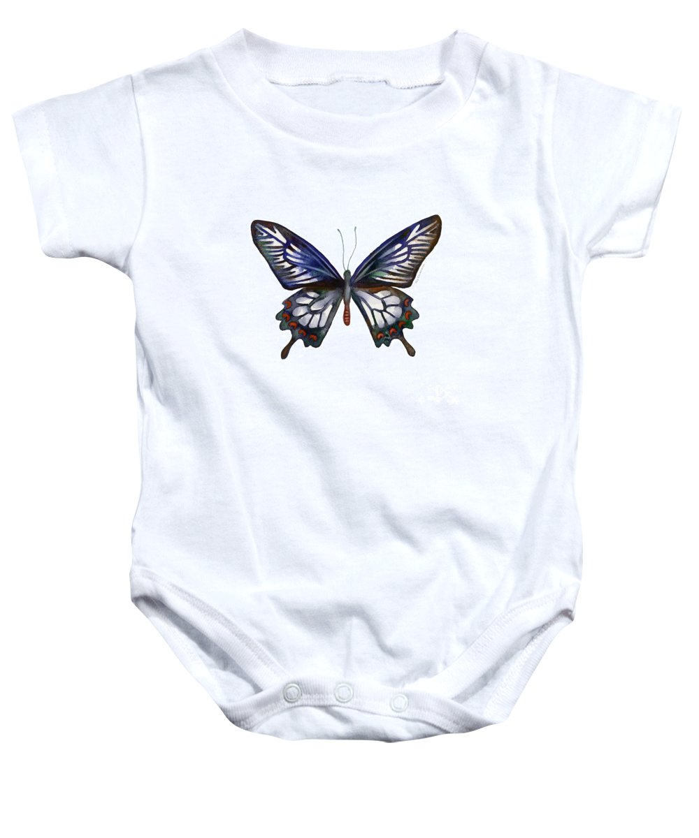 Ceylon Baby Onesie featuring the painting 54 Ceylon Rose Butterfly by Amy Kirkpatrick