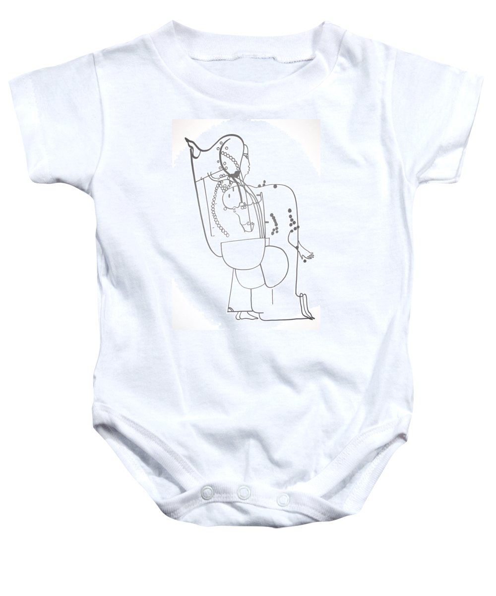 Jesus Baby Onesie featuring the drawing Dinka Embrace by Gloria Ssali