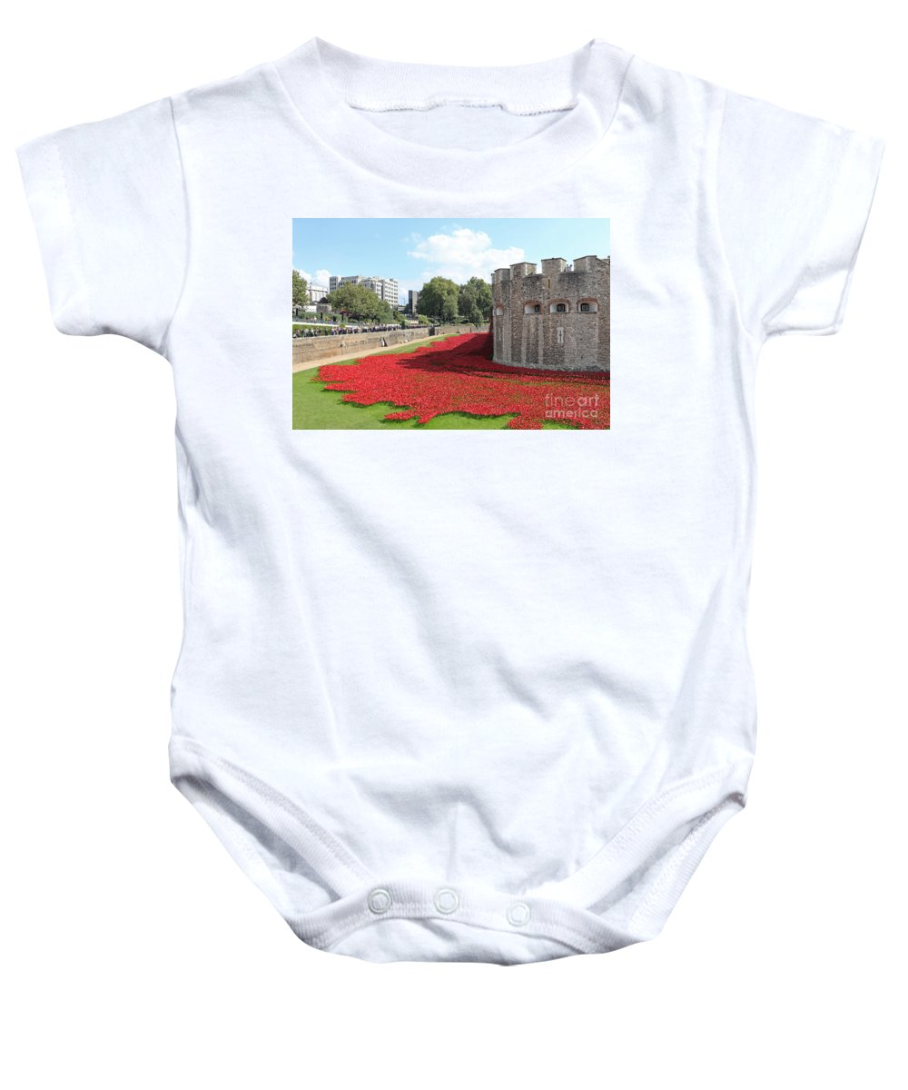 Remembrance Poppies At The Tower Of London Baby Onesie featuring the photograph Remembrance Poppies At The Tower Of London by Julia Gavin