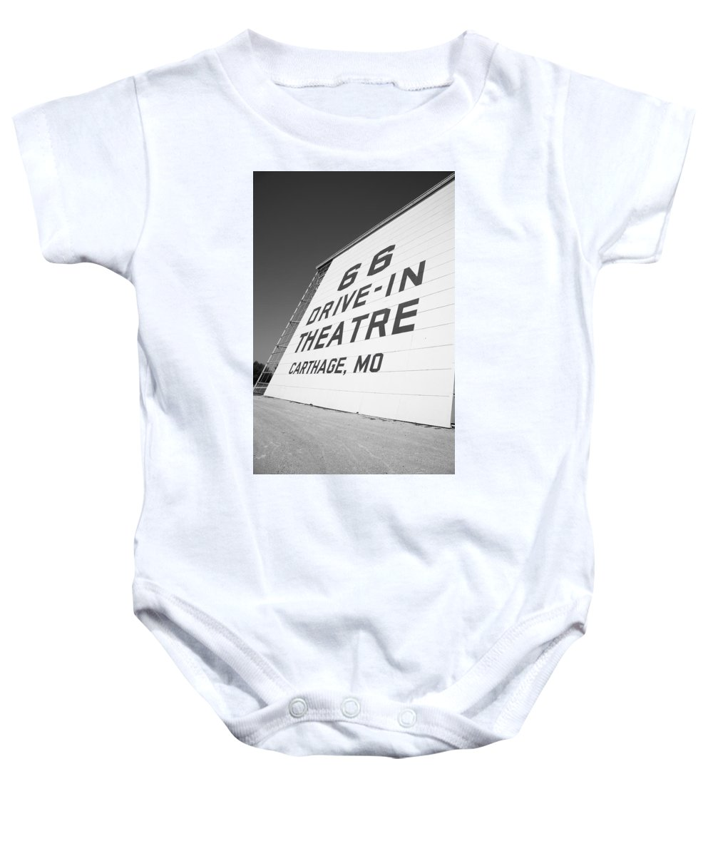 66 Baby Onesie featuring the photograph Route 66 Drive-in Theatre by Frank Romeo