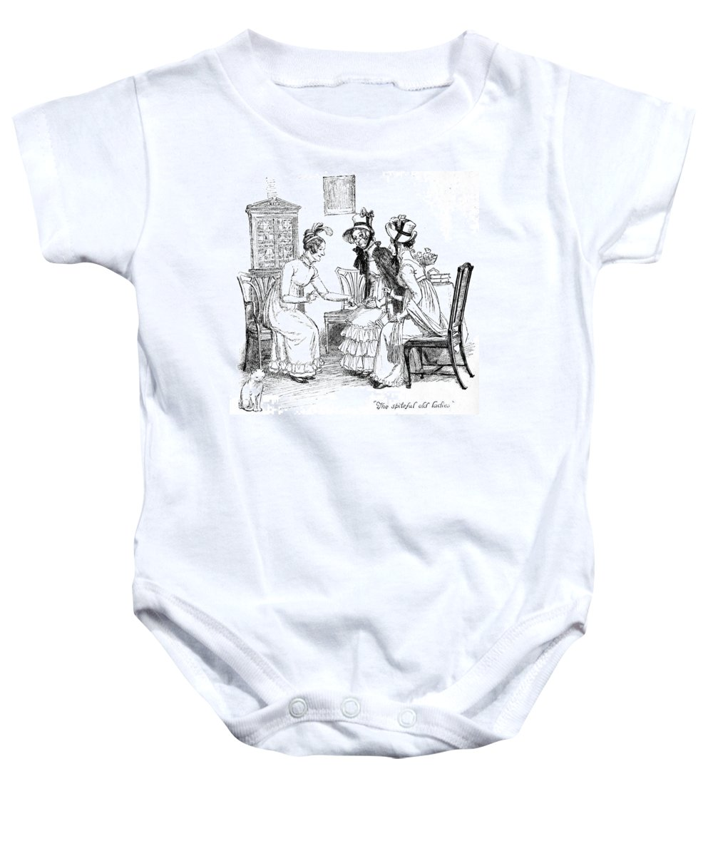 Spiteful Old Ladies; Illustration; Pride And Prejudice; Jane Austen; Edition; Illustrated; Meryton; Gossip; Gossips; Gossiping; Lydia Bennet's; Elopement; Scandal; News; Talking; Regency; Georgian; Parlour; Interior; Marriage; Wedding; Scandalous; Costume; Women Baby Onesie featuring the drawing Scene From Pride And Prejudice By Jane Austen by Hugh Thomson