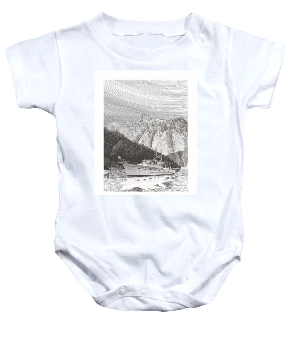 A Pen & Ink Yacht Portrait Of A 65 Foot Yacht Anchored In Desolation Sound Baby Onesie featuring the drawing Desolation Sound Quiet Anchorage   by Jack Pumphrey
