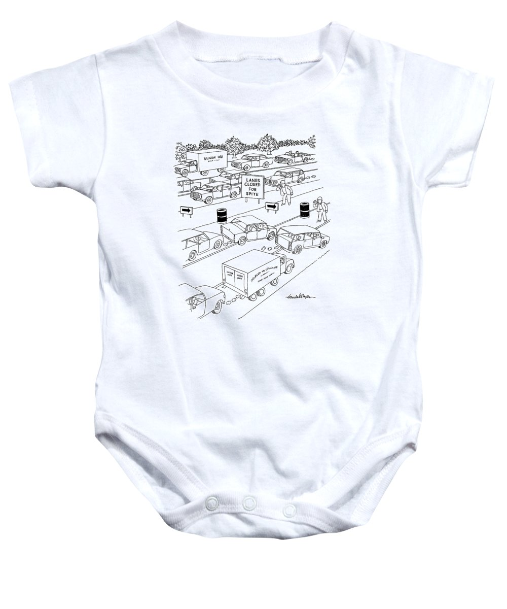 Autos Traffic Word Play (traffic Jam On Highway With Sign Reading Baby Onesie featuring the drawing New Yorker September 20th, 2004 by J.B. Handelsman