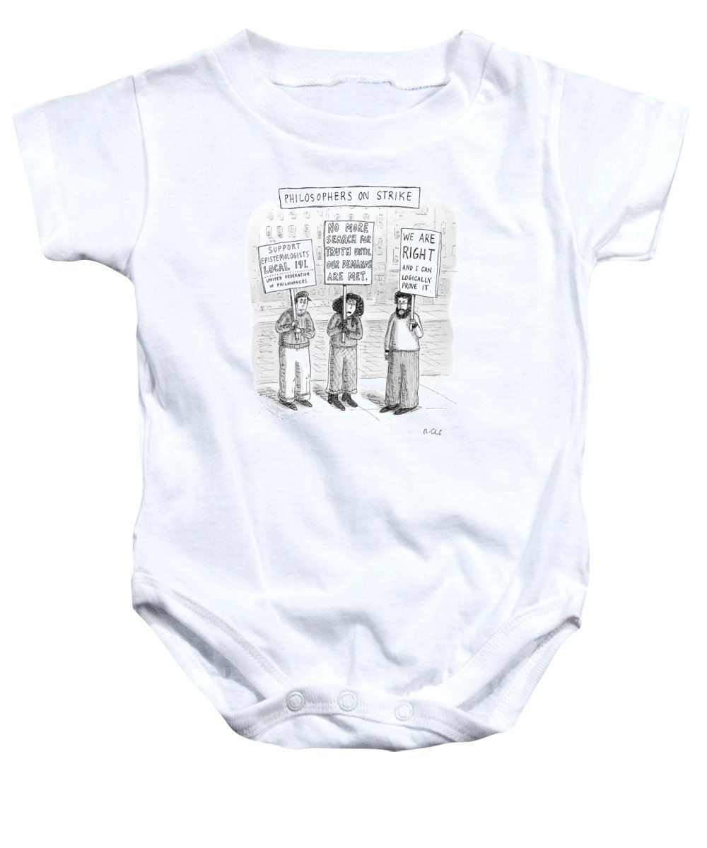Strike Baby Onesie featuring the drawing New Yorker December 3rd, 2007 by Roz Chast