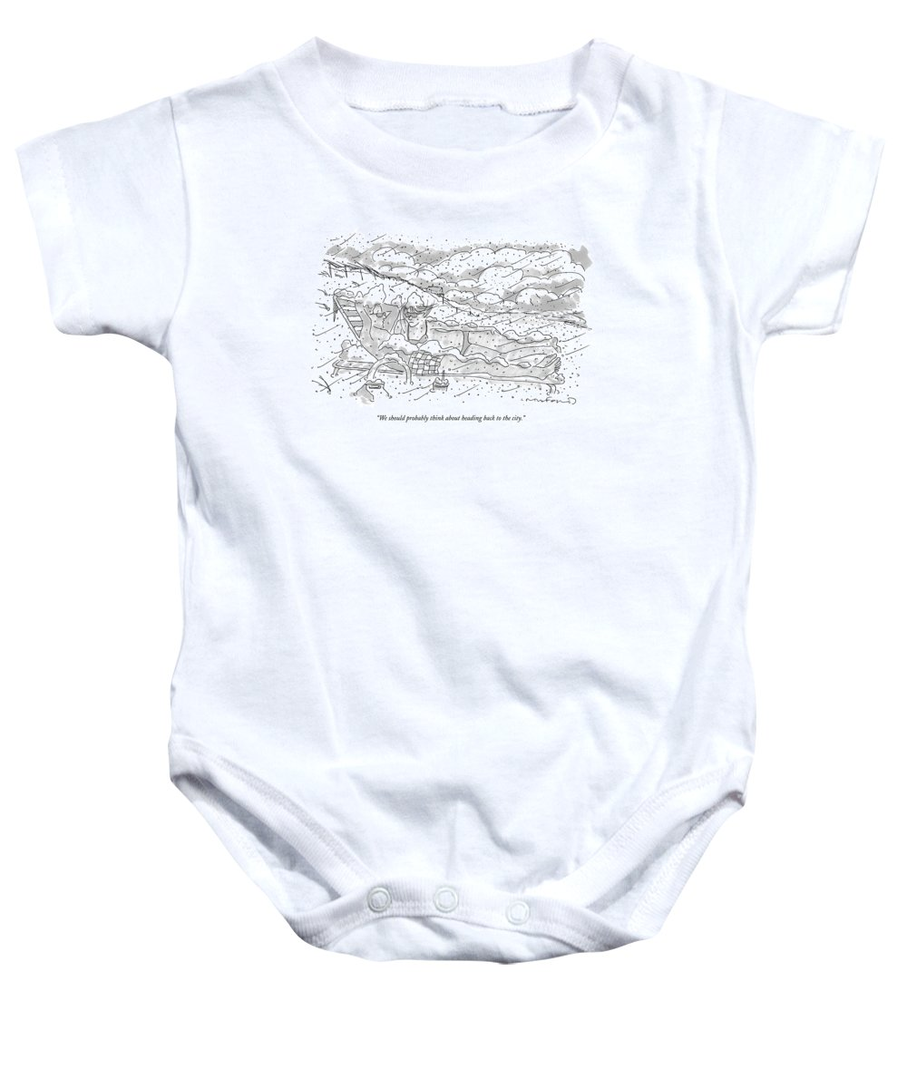 Seasons Winter Problems Vacations Leisure  (couple In Their Bathing Suits Baby Onesie featuring the drawing We Should Probably Think About Heading Back by Michael Crawford