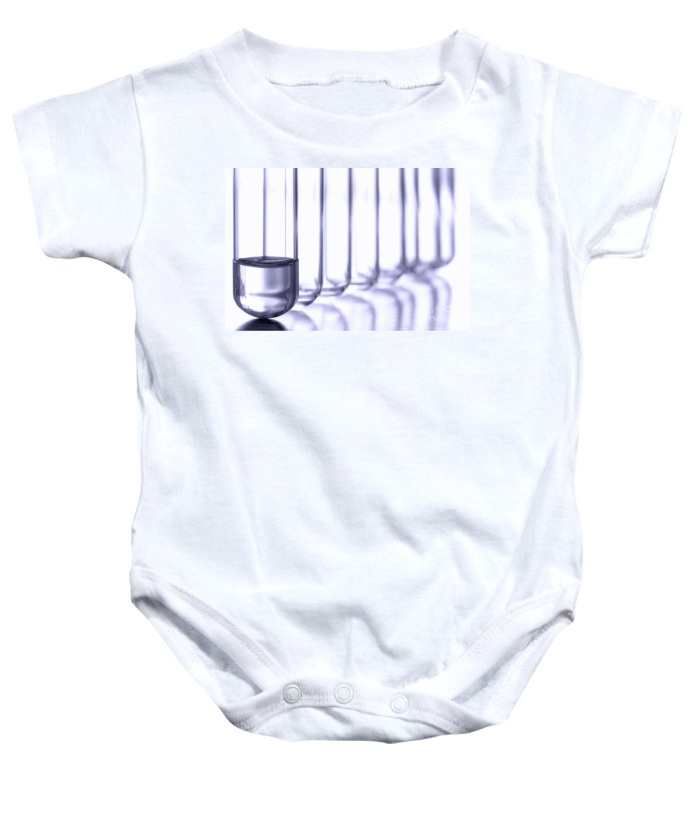 Test Baby Onesie featuring the photograph Laboratory Test Tubes In Science Research Lab by Science Research Lab By Olivier Le Queinec