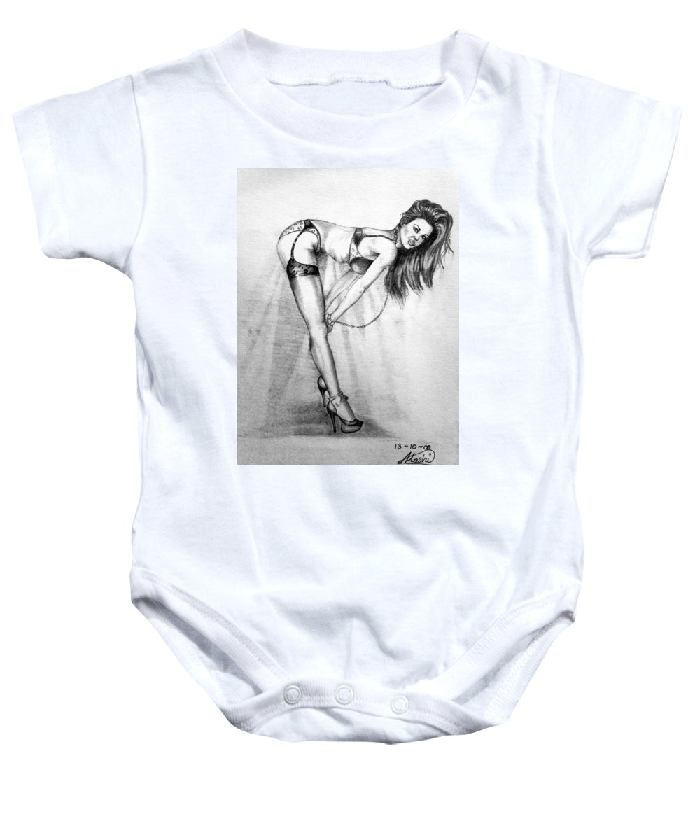 Model Baby Onesie featuring the drawing Model by Alban Dizdari